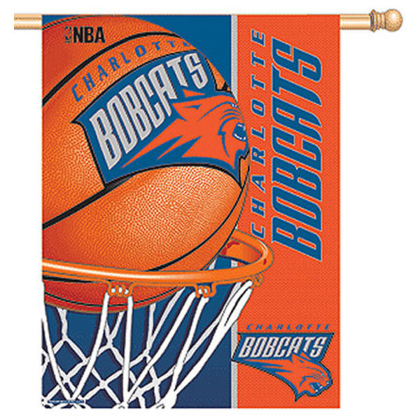 Charlotte Bobcats House Flag has Charlotte Bobcat logos and these house flags for Charlotte Bobcats are made of 100% poly, measure 27x37 inches, hang vertically, has a top pole sleeve, and is viewable from both sides. This Charlotte Bobcats House Flag can ship Same Day and offers dye sublimated team logos and is NBA licensed Flag Merchandise