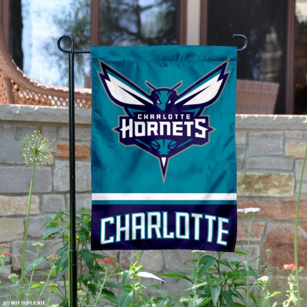 Charlotte Hornets Garden Flag is 12.5x18 inches in size, is made of 2-ply polyester, and has two sided screen printed logos and lettering. Available with Express Next Day Shipping, our Charlotte Hornets Garden Flag is NBA Genuine Merchandise and is double sided.