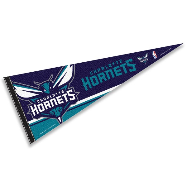 This Charlotte Hornets Pennant measures 12x30 inches, is constructed of felt, and is single sided screen printed with the Charlotte Hornets logo and insignia. Each Charlotte Hornets Pennant is a NBA Officially Licensed product.