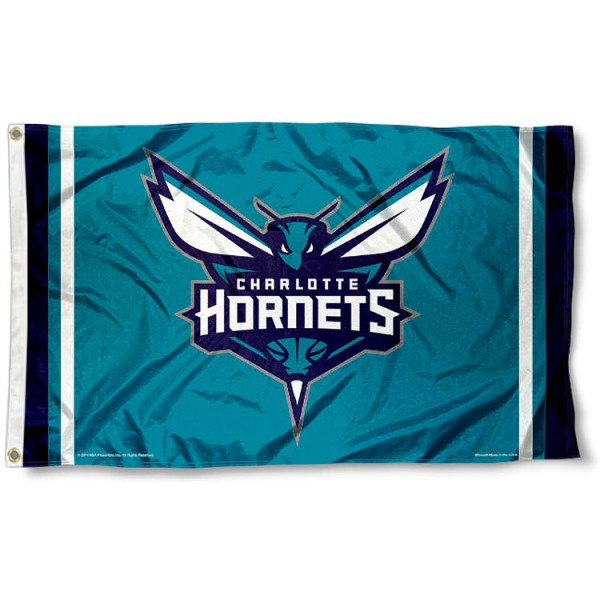 The Charlotte Hornets Team Flag is four-stitched bordered, double sided, made of poly, 3'x5', and has two grommets. These Charlotte Hornets Team Flags are NBA Genuine Merchandise.