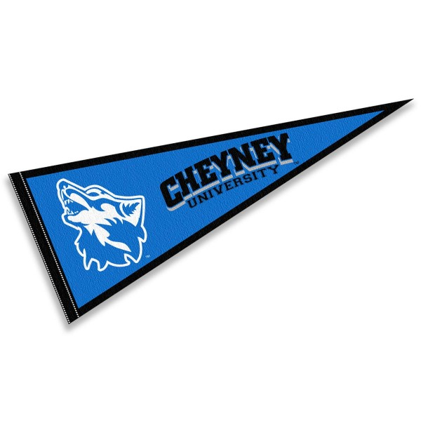Cheyney University Wolves Pennant consists of our full size sports pennant which measures 12x30 inches, is constructed of felt, is single sided imprinted, and offers a pennant sleeve for insertion of a pennant stick, if desired. This Cheyney University Wolves Pennant Decorations is Officially Licensed by the selected university and the NCAA.