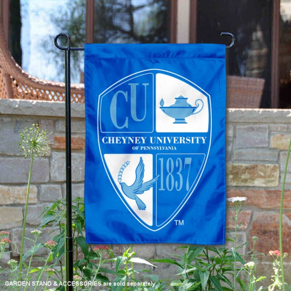 Cheyney University Wolves Wordmark Logo Garden Flag is 13x18 inches in size, is made of 2-layer polyester, screen printed university athletic logos and lettering, and is readable and viewable correctly on both sides. Available same day shipping, our Cheyney University Wolves Wordmark Logo Garden Flag is officially licensed and approved by the university and the NCAA.