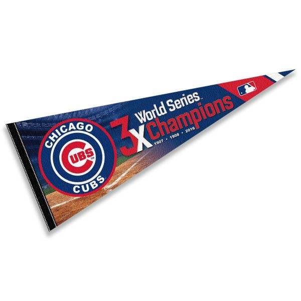 This Chicago Baseball 3 Time World Series Champions Pennant measures 12x30 inches, is constructed of felt, and is single sided screen printed with the Chicago Baseball logo and insignia. Each Chicago Baseball 3 Time World Series Champions Pennant is a MLB Genuine Merchandise product.