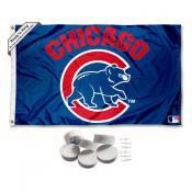 Chicago Baseball Walking Bear Logo Banner Flag with Tack Wall Pads