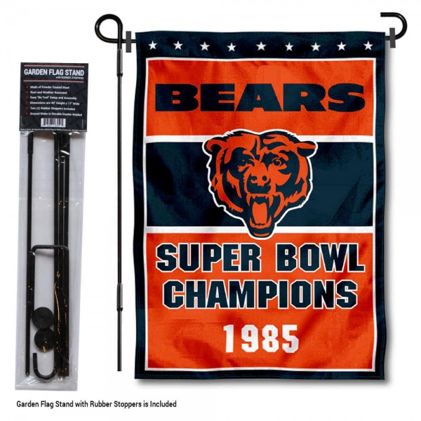 "Chicago Bears 1985 Champions Garden Banner and Flag Stand kit includes our 13""x18"" garden banner which is made of 2 ply poly with liner and has screen printed licensed logos. Also, a 40""x17"" inch garden flag stand is included so your Chicago Bears 1985 Champions Garden Banner and Flag Stand is ready to be displayed with no tools needed for setup. Fast Overnight Shipping is offered and the flag is Officially Licensed and Approved by the selected team."