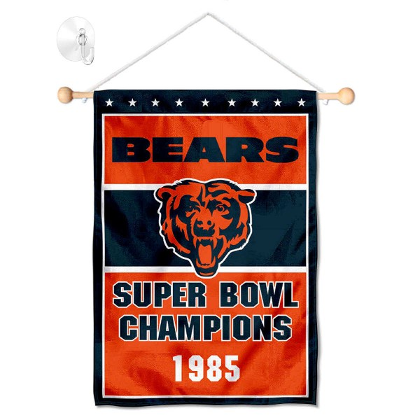 "Chicago Bears 1985 Champions Window and Wall Banner kit includes our 12.5""x18"" garden banner which is made of 2 ply poly with liner and has screen printed licensed logos. Also, a 17"" wide banner pole with suction cup is included so your Chicago Bears 1985 Champions Window and Wall Banner is ready to be displayed with no tools needed for setup. Fast Overnight Shipping is offered and the flag is Officially Licensed and Approved by the selected team."