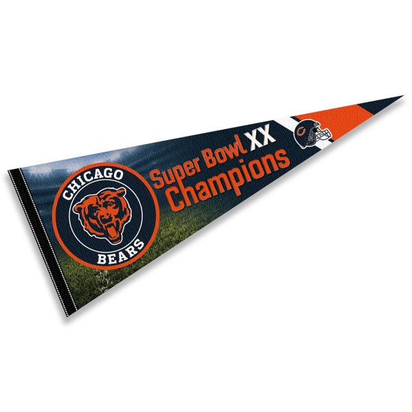 This Chicago Bears 1985 Super Bowl Champions Pennant Flag is 12x30 inches, is made of premium felt blends, has a pennant stick sleeve, and the team logos are single sided screen printed. Our Chicago Bears 1985 Super Bowl Champions Pennant Flag is NFL Officially Licensed.