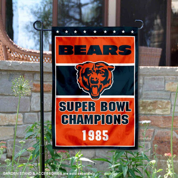 Chicago Bears 1985 Super Bowl Champs Garden Flag is 12.5x18 inches in size, is made of 2-ply polyester, and has two sided screen printed logos and lettering. Available with Express Next Day Ship, our Chicago Bears 1985 Super Bowl Champs Garden Flag is NFL Officially Licensed and is double sided.