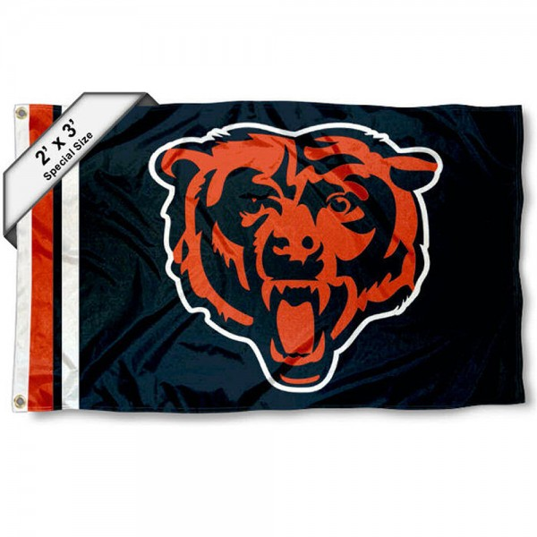 Chicago Bears 2x3 Feet Flag measures 2'x3', is made polyester, has quadruple stitched flyends, two metal grommets, and offers screen printed NFL Chicago Bears logos and insignias. Our Chicago Bears 2x3 Foot Flag is NFL Officially Licensed and approved.