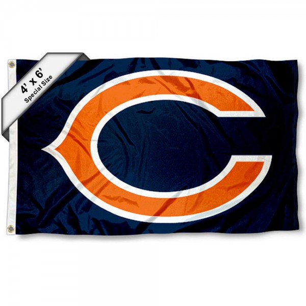Chicago Bears 4x6 Flag measures a large 4x6 feet, is made polyester, has quadruple stitched flyends, two metal grommets, and offers screen printed NFL Chicago Bears logos and insignias. Our Chicago Bears 4x6 Foot Flag is NFL Officially Licensed and Chicago Bears approved.