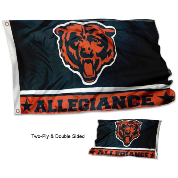 Chicago Bears Allegiance Flag measures 3'x5', is made of 2-ply double sided polyester with liner, has quadruple stitched sewing, two metal grommets, and has two sided team logos. Our Chicago Bears Allegiance Flag is officially licensed by the selected team and the NFL and is available with overnight express shipping.