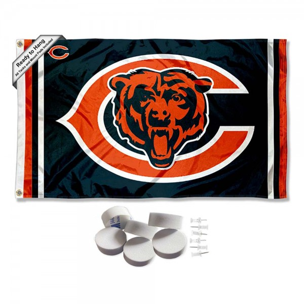 Our Chicago Bears Banner Flag with Tack Wall Pads is double sided, made of poly, 3'x5', has two metal grommets, indoor or outdoor, and four-stitched fly ends. These Chicago Bears Banner Flag with Tack Wall Padss are Officially Approved by the Chicago Bears. Tapestry Wall Hanging Tack Pads which include a 6 pack of banner display pads with 6 tacks allowing you to hang your pennant on any wall damage-free.