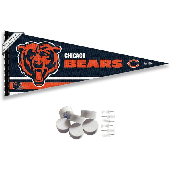 This Chicago Bears Banner Pennant with Tack Wall Pads is 12x30 inches, is made of premium felt blends, has a pennant stick sleeve, and the team logos are single sided screen printed. Our Chicago Bears Banner Pennant Flag is NFL Officially Licensed and include our 6 pack of wall adhesive pads and tacks.