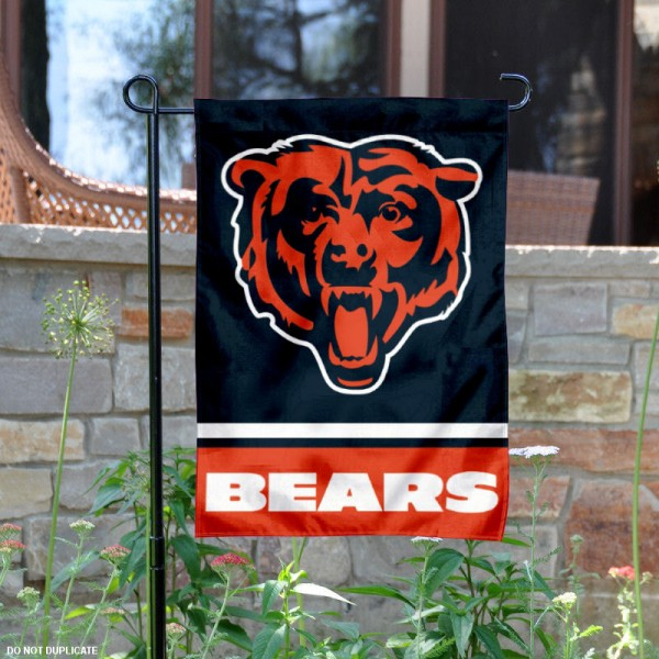 Chicago Bears Bear Head Logo Flag is 12.5x18 inches in size, is made of 2-ply polyester, and has two sided screen printed logos and lettering. Available with Express Next Day Ship, our Chicago Bears Bear Head Logo Flag is NFL Officially Licensed and is double sided.