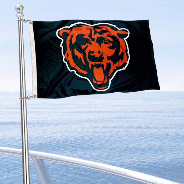 "Our Chicago Bears Boat and Nautical Flag is 12""x18"", made of three-ply poly, has a solid header with two metal grommets, and is double sided. This Boat and Nautical Flag for Chicago Bears is Officially Licensed by the NFL and can also be used as a motorcycle flag, boat flag, golf cart flag, or recreational flag."