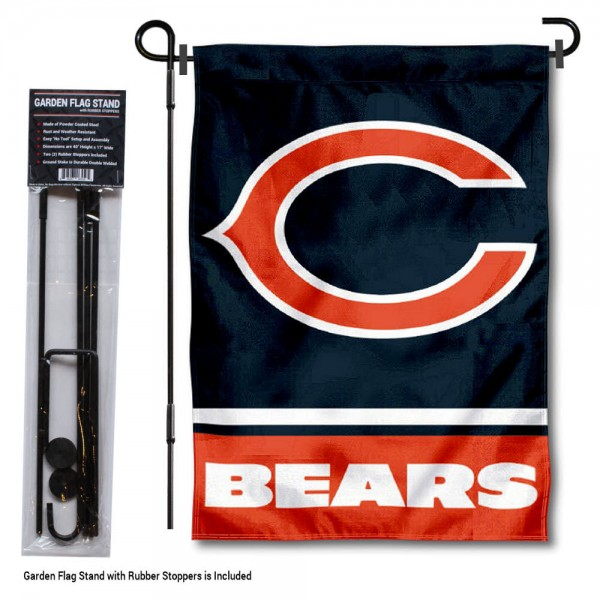 "Chicago Bears C Logo Garden Flag and Stand kit includes our 13""x18"" garden banner which is made of 2 ply poly with liner and has screen printed licensed logos. Also, a 40""x17"" inch garden flag stand is included so your Chicago Bears C Logo Garden Flag and Stand is ready to be displayed with no tools needed for setup. Fast Overnight Shipping is offered and the flag is Officially Licensed and Approved by the selected team."