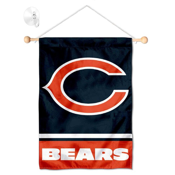 "Chicago Bears C Logo Window and Wall Banner kit includes our 12.5""x18"" garden banner which is made of 2 ply poly with liner and has screen printed licensed logos. Also, a 17"" wide banner pole with suction cup is included so your Chicago Bears C Logo Window and Wall Banner is ready to be displayed with no tools needed for setup. Fast Overnight Shipping is offered and the flag is Officially Licensed and Approved by the selected team."