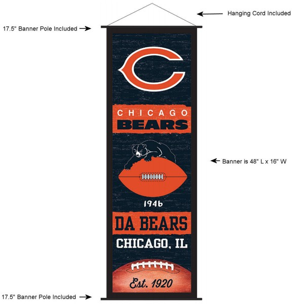 "This ""ready to hang"" Chicago Bears Decor and Banner is made of polyester material, measures a large 17.5"" x 48"", offers screen printed athletic logos, and includes both top and bottom 3/4"" diameter plastic banner poles and hanging cord. Our Chicago Bears D�cor and Banner is Officially Licensed by the selected team and NFL."