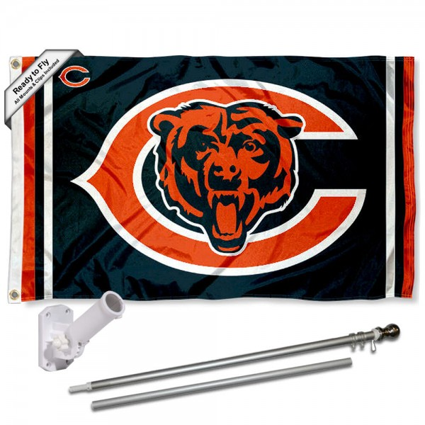 Our Chicago Bears Double Logo Flag Pole and Bracket Kit includes the flag as shown and the recommended flagpole and flag bracket. The flag is made of polyester, has quad-stitched flyends, and the NFL Licensed team logos are double sided screen printed. The flagpole and bracket are made of rust proof aluminum and includes all hardware so this kit is ready to install and fly.
