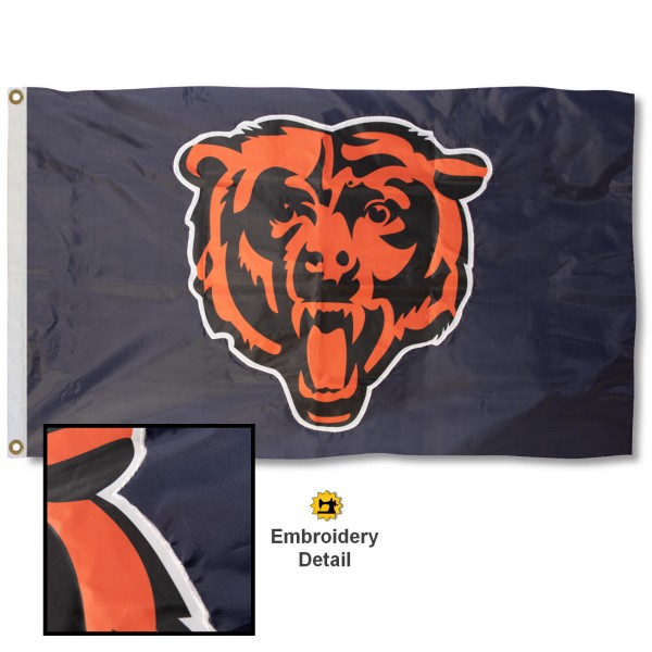 This Chicago Bears Embroidered Nylon Flag is double sided, made of nylon, 3'x5', has two metal grommets, indoor or outdoor, and four-stitched fly ends. These Chicago Bears Embroidered Nylon Flags are Officially Approved the Chicago Bears and NFL.