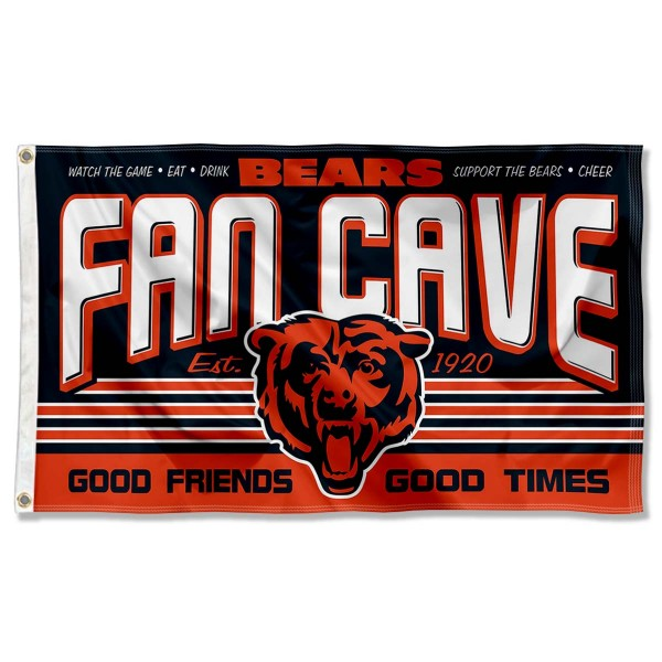 Our Chicago Bears Fan Cave Flag Large Banner is double sided, made of poly, 3'x5', has two metal grommets, indoor or outdoor, and four-stitched fly ends. These Chicago Bears Fan Cave Flag Large Banners are Officially Approved by the Chicago Bears.