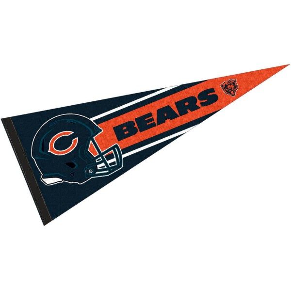 This Chicago Bears Football Pennant measures 12x30 inches, is constructed of felt, and is single sided screen printed with the Chicago Bears logo and helmets. This Chicago Bears Football Pennant is a NFL Officially Licensed product.