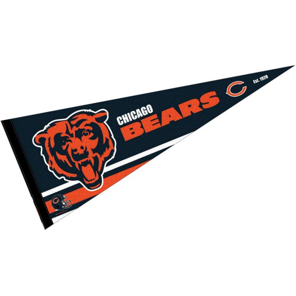 This Chicago Bears Full Size Pennant is 12x30 inches, is made of premium felt blends, has a pennant stick sleeve, and the team logos are single sided screen printed. Our Chicago Bears Full Size Pennant is NFL Officially Licensed.
