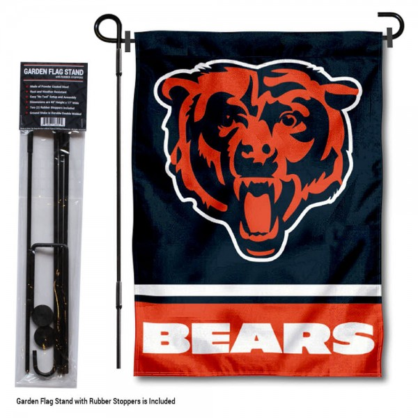 "Chicago Bears Garden Flag and Stand kit includes our 13""x18"" garden banner which is made of 2 ply poly with liner and has screen printed licensed logos. Also, a 40""x17"" inch garden flag stand is included so your Chicago Bears Garden Flag and Stand is ready to be displayed with no tools needed for setup. Fast Overnight Shipping is offered and the flag is Officially Licensed and Approved by the selected team."