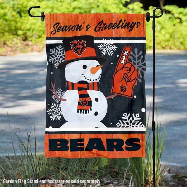 Chicago Bears Holiday Winter Snow Double Sided Garden Flag is 12.5x18 inches in size, is made of 2-ply polyester, and has two sided screen printed logos and lettering. Available with Express Next Day Ship, our Chicago Bears Holiday Winter Snow Double Sided Garden Flag is NFL Officially Licensed and is double sided.