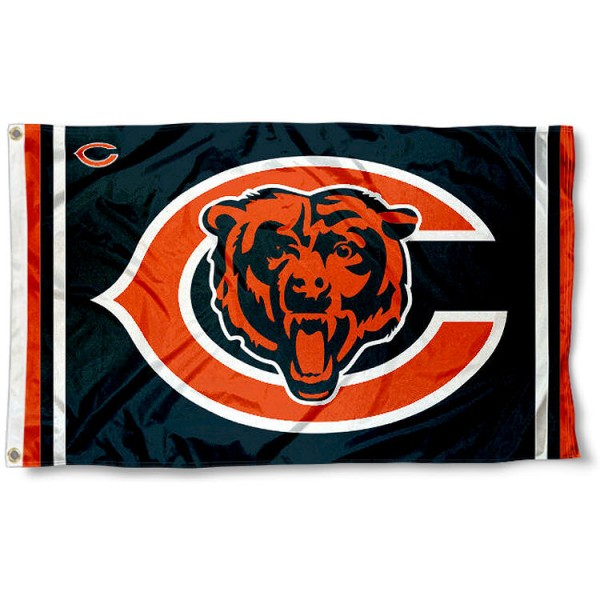 Our Chicago Bears Logos Flag is double sided, made of poly, 3'x5', has two metal grommets, indoor or outdoor, and four-stitched fly ends. These Chicago Bears Logos Flags are Officially Licensed by the NFL.