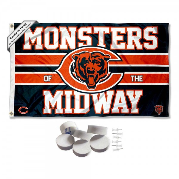 Our Chicago Bears Monsters of the Midway Banner Flag with Tack Wall Pads is double sided, made of poly, 3'x5', has two metal grommets, indoor or outdoor, and four-stitched fly ends. These Chicago Bears Monsters of the Midway Banner Flag with Tack Wall Padss are Officially Approved by the Chicago Bears. Tapestry Wall Hanging Tack Pads which include a 6 pack of banner display pads with 6 tacks allowing you to hang your pennant on any wall damage-free.