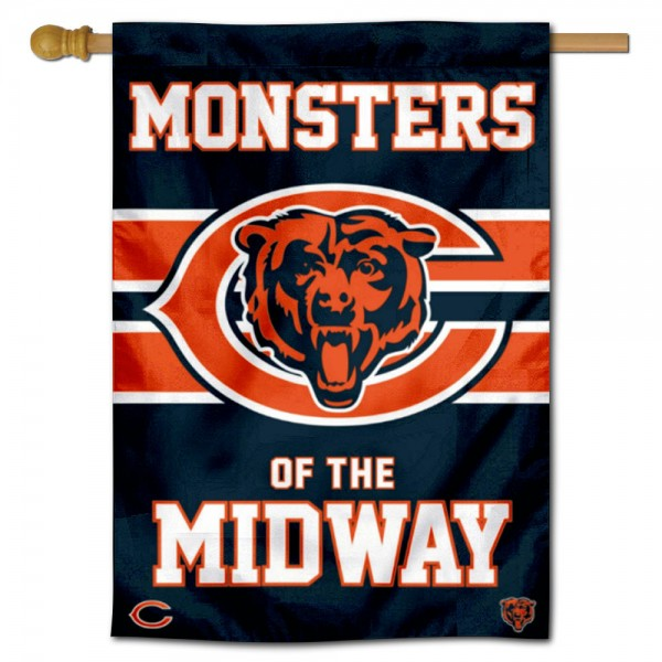 Chicago Bears Monsters of the Midway Double Sided House Banner is screen printed with Chicago Bears logos, is made of 2-ply 100% polyester, and is two sided and double sided. Our banners measure 28x40 inches and hang vertically with a top pole sleeve to insert your banner pole or flagpole.