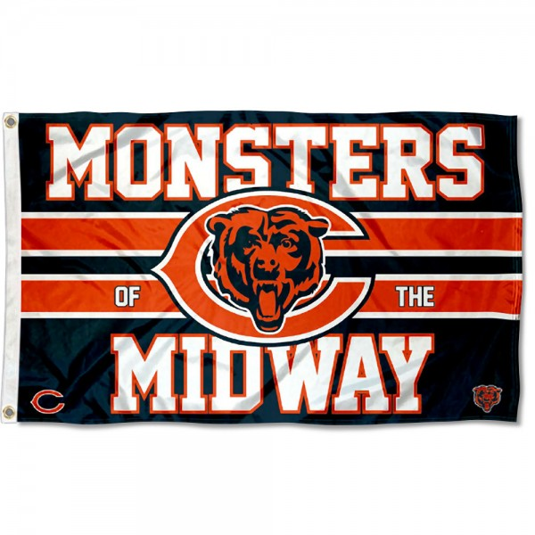 Our Chicago Bears Monsters of the Midway Flag is double sided, made of poly, 3'x5', has two metal grommets, indoor or outdoor, and four-stitched fly ends. These Chicago Bears Monsters of the Midway Flags are Officially Approved by the Chicago Bears.