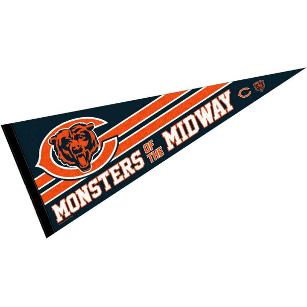 This Chicago Bears Monsters Of The Midway Pennant is 12x30 inches, is made of premium felt blends, has a pennant stick sleeve, and the team logos are single sided screen printed. Our Chicago Bears Monsters Of The Midway Pennant is NFL Officially Licensed.