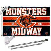 Chicago Bears Monsters of the Midway Slogan Flag Pole and Bracket Kit