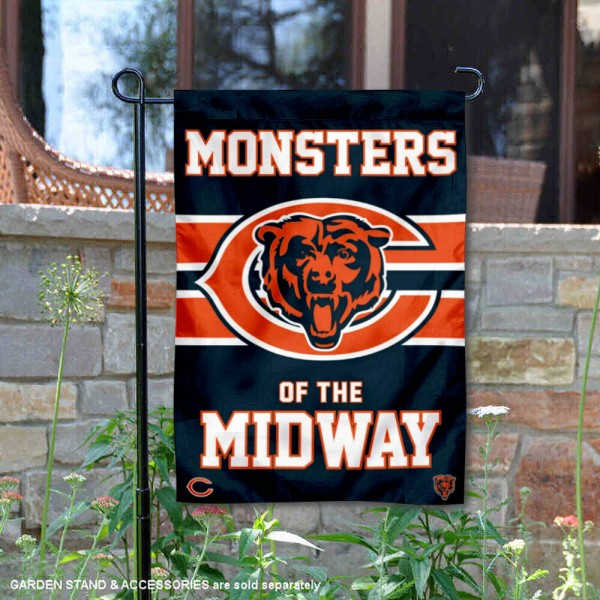 Chicago Bears Nation Monsters of the Midway Garden Flag is 12.5x18 inches in size, is made of 2-ply polyester, and has two sided screen printed logos and lettering. Available with Express Next Day Ship, our Chicago Bears Nation Monsters of the Midway Garden Flag is NFL Officially Licensed and is double sided.