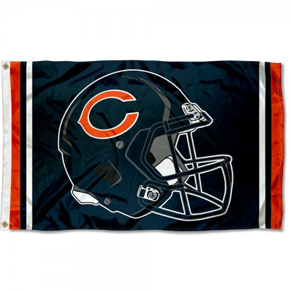 Our Chicago Bears New Helmet Flag is two sided, made of poly, 3'x5', Overnight Shipping, has two metal grommets, indoor or outdoor, and four-stitched fly ends. These Chicago Bears New Helmet Flags are Officially Approved by the Chicago Bears.