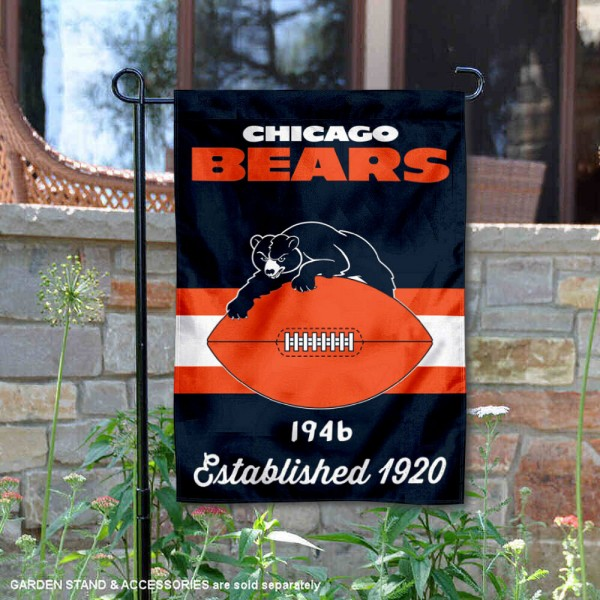 Chicago Bears Throwback Logo Double Sided Garden Flag Flag is 12.5x18 inches in size, is made of 2-ply polyester, and has two sided screen printed logos and lettering. Available with Express Next Day Ship, our Chicago Bears Throwback Logo Double Sided Garden Flag Flag is NFL Officially Licensed and is double sided.
