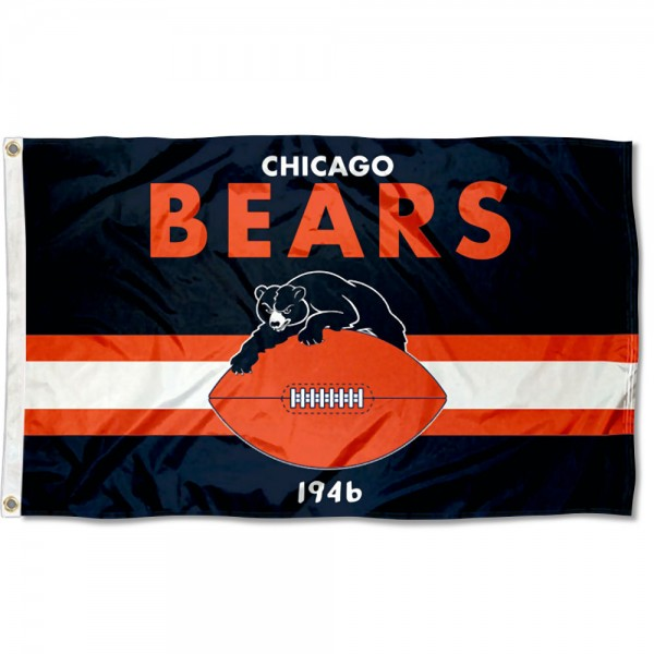 Our Chicago Bears Throwback Retro Vintage Logo Flag is double sided, made of poly, 3'x5', has two metal grommets, indoor or outdoor, and four-stitched fly ends. These Chicago Bears Throwback Retro Vintage Logo Flags are Officially Approved by the Chicago Bears.