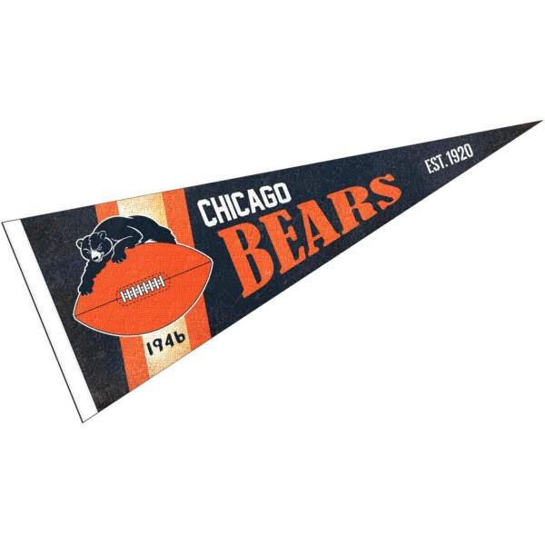 This Chicago Bears Throwback Vintage Retro Pennant is 12x30 inches, is made of premium felt blends, has a pennant stick sleeve, and the team logos are single sided screen printed. Our Chicago Bears Throwback Vintage Retro Pennant is NFL Officially Licensed.