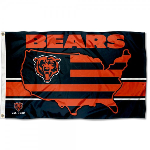 Our Chicago Bears USA Country Flag is double sided, made of poly, 3'x5', has two metal grommets, indoor or outdoor, and four-stitched fly ends. These Chicago Bears USA Country Flags are Officially Approved by the Chicago Bears.