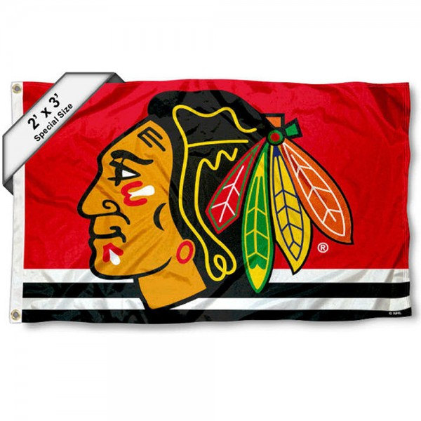 Chicago Blackhawks 2x3 Feet Flag measures 2'x3', is made polyester, has quadruple stitched flyends, two metal grommets, and offers screen printed NHL Chicago Blackhawks logos and insignias. Our Chicago Blackhawks 2x3 Foot Flag is NHL Officially Licensed and approved.