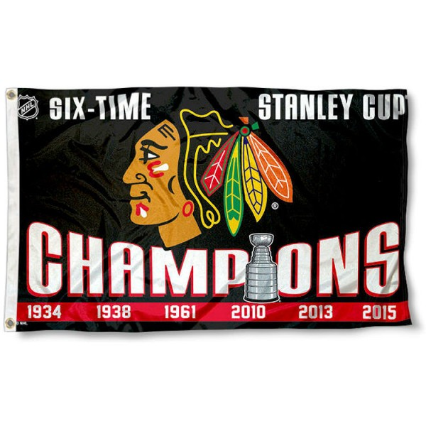 The Chicago Blackhawks 6 Time Champs Flag is four-stitched bordered, double sided, made of poly, 3'x5', and has two grommets. These Chicago Blackhawks 6 Time Champs Flags are NHL Genuine Merchandise.