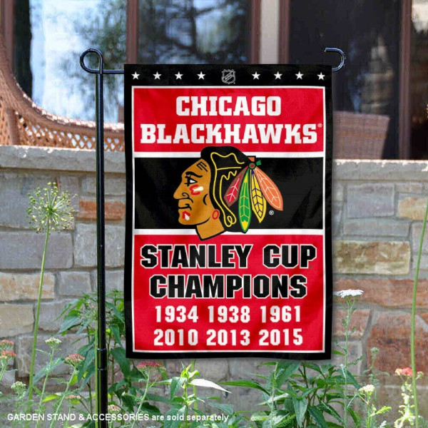 Chicago Blackhawks 6 Time Stanley Cup Champions Garden Flag is 12.5x18 inches in size, is made of 2-ply polyester, and has two sided screen printed logos and lettering. Available with Express Next Day Ship, our Chicago Blackhawks 6 Time Stanley Cup Champions Garden Flag is NHL Officially Licensed and is double sided.