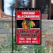 Chicago Blackhawks 6 Time Stanley Cup Champions Garden Flag
