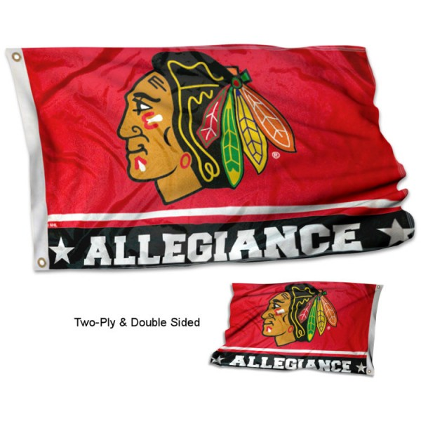 Chicago Blackhawks Allegiance Flag measures 3'x5', is made of 2-ply double sided polyester with liner, has quadruple stitched sewing, two metal grommets, and has two sided team logos. Our Chicago Blackhawks Allegiance Flag is officially licensed by the selected team and the NHL and is available with overnight express shipping.