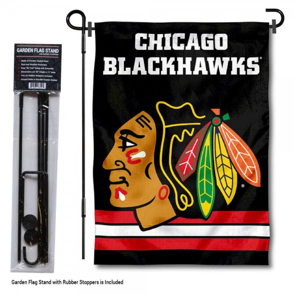"Chicago Blackhawks Black Garden Flag and Stand kit includes our 12.5""x18"" garden banner which is made of 2 ply poly with liner and has screen printed licensed logos. Also, a 40""x17"" inch garden flag stand is included so your Chicago Blackhawks Black Garden Flag and Stand is ready to be displayed with no tools needed for setup. Fast Overnight Shipping is offered and the flag is Officially Licensed and Approved by the selected team."