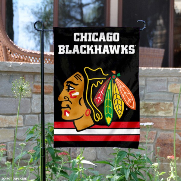 Chicago Blackhawks Double Sided Black Garden Flag is 12.5x18 inches in size, is made of 2-ply polyester, and has two sided screen printed logos and lettering. Available with Express Next Day Ship, our Chicago Blackhawks Double Sided Black Garden Flag is NHL Officially Licensed and is double sided.