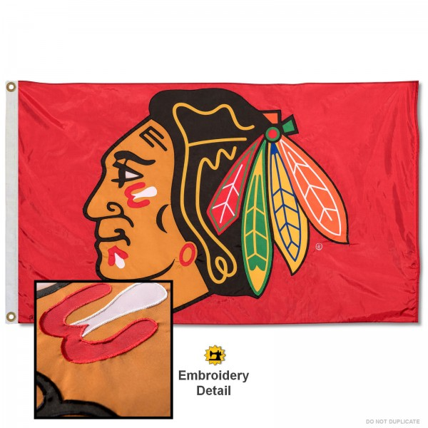 This Chicago Blackhawks Embroidered Nylon Flag is double sided, made of nylon, 3'x5', has two metal grommets, indoor or outdoor, and four-stitched fly ends. These Chicago Blackhawks Embroidered Nylon Flags are Officially Approved the Chicago Blackhawks and NHL.