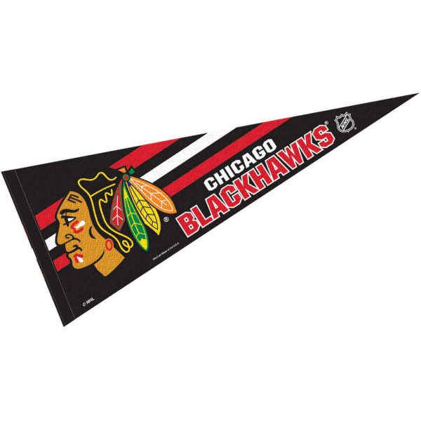 Chicago Blackhawks NHL Pennant is our full size 12x30 inch pennant which is made of felt, is single sided screen printed, and is perfect for decorating at home or office. Display your NHL hockey allegiance with this NHL Genuine Merchandise item.